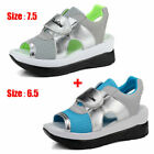 2pcs Womens Casual Platform Studded Wedge Ankle Strap Sandals Open-toe Shoes