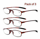 3 Pairs Flexible Reading Glasses Light Weight Readers Plastic 1.00 4.00 C89