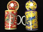 Chinese Jindezhen Porcelain Tea Coffee Cup Handled Infuser Strainer Lid Mug Cups