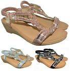 LADIES WOMENS SUMMER WEDGE DIAMANTE LOW HEEL MID WEDGE PARTY SANDALS SHOES SIZE