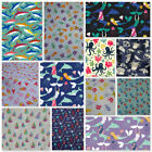 POLYCOTTON FABRIC BRIGHT BEACH MERMAIDS ICE-CREAMS OCTOPUS SEALIFE SHARKS YACHTS