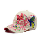 AKIZON Baseball Cap With Butterflies And Flowers Embroidery Adjustable For Women