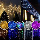 96-960 LEDS Xmas Fairy String Outdoor Eaves Hanging Icicle Snowing Curtain Light
