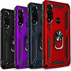 For Motorola Moto G8 Plus/ G8 Play Ring Kickstand Case Tempered Glass Protector