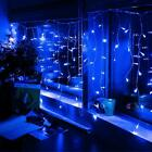 US 4M Blue LED Curtain Icicle String Light 96LED Fiary Garland Christmas Decorat
