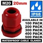 100 RED 20MM M20 IP68 TRS NYLON DOME CABLE COMPRESSION STUFFING GLANDS LOCKNUTS