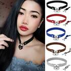 Women Punk Gothic Choker Leather Lock Key Buckle Collar Chain Necklace Jewelry