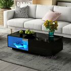 Modern High Gloss Coffee Tea Table Storage Drawers Shelves with RGB LED Light