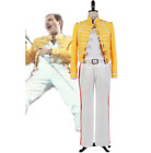 Queen Lead Vocals Freddie Mercury Wembley On Stage Cosplay Costume Yellow Jacket
