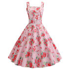 Womens Vintage 1940s 50s Rockabilly Party Swing Dress Pleated Party Midi Dresses