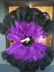 "black  purple XL 2 layers Ostrich Feather Fan 34"" x 60"" leather Travel Bag"
