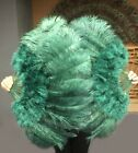 "forest green 21"" x 38"" Marabou Ostrich Feather fan with Travel Bag"