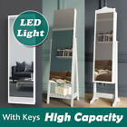 Mirror Jewellery Cabinet Storage Organiser Box Wooden Full Length With Led Large