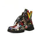 Women Super Chic Colored Letters Graffiti Print Lace Up Ankle Sneaker Boots