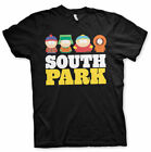 OFFICIAL SOUTH PARK ERIC, KENNY, KYLE AND STAN DISTRESSED PRINT BLACK T-SHIRT