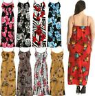 Womens Plus Size Ladies Sleeveless Floral Print Strappy Summer Frill Maxi Dress
