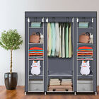 Durable 69'' Fabric Canvas Wardrobe With Hanging Rail Shelving Clothes Cupboard