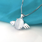 925 Sterling Silver Angel Egg Pendant Chain Necklace Womens Girls Jewellery Gift
