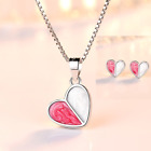 925 Sterling Silver Heart Pendant Chain Necklace Stud Earrings Womens Jewellery