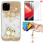 Bling Soft Phone Case With 2 Glass Screen Protector Film & Crystals Hand Strap Q