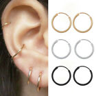 Women Girl Silver Gold Stainless Steel Small Huggie Hoop Earrings 10MM-15MM 2Pcs