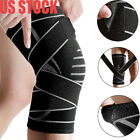 Elastic Weaving Compression Knee Brace Wrap Support Stabilizer Sport Gym Running $16.93 USD on eBay