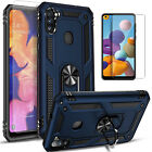 For Samsung Galaxy A11 Case, Ring Kickstand Cover + Tempered Glass Protector