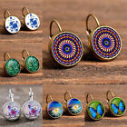 Round Gold Silver Time Gem Celestial Glass Tile Lever Back Earrings Jewelry F6
