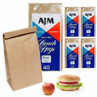 200 Brown Paper Bags Snack Kraft Bag Lunch Merchandise Grocery Party Office New