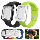 Sport Silicone Band Strap with Screen Protector Case For Apple Watch 40/44mm 6 5