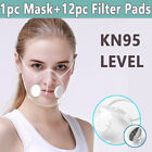 Reusable Face Masks &12pc Filters Anti-droplets Respirator Clear Face Mouth Mask
