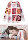 White Multi-Colored Blackpink Jenny Casual Abstract Sweaters Crew Neck