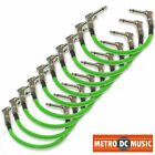 10-Pack 6-inch 1/4 UFO Neon Green Right-Angle Guitar Pedal Patch Cable Woven NEW