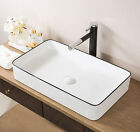Hometure Above Ceramic Rectangular Vessel Bathroom Sink