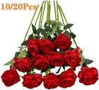 10/20pcs Artificial Flowers Silk Roses Fake Bridal Wedding Bouquet Home Decor
