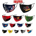 2PCS KIDS Face Mask Reusable Washable Superman Marvel Spiderman Face Cover