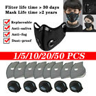 Washable Face Mask Reusable W/valve Respirator+3/4/5 Layers Carbon Purify Filter