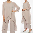 3 Pieces Long Sleeve Chiffon Mother Of The Bride Pant Suits Formal Party Gowns