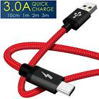 Heavy Duty Quick Fast Charge USB C Type C Data Phone Charger Cable Lead 2m 3m 1m