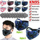 Face Mask Double Breathing Valve With Carbon Filters Pads Sets 2 Styles Washable