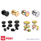 1-4pairs Fake Stretchers Earring Plugs Ear Piercing Studs Steel Body Jewellery
