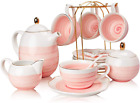 SWEEJAR Porcelain Tea Sets,8 oz Cups and Saucer Teaspoon Set of 4