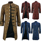 Mens Medieval Renaissance Jacket Gothic Steampunk Trench Coat Costume Outwear