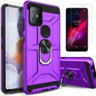 For T-Mobile REVVL 4/ 4 PLUS/ REVVL 5G Case Kickstand + Tempered Glass Protector