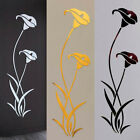 3D Lily Flower Mirror Wall Sticker Decal DIY Removable Art Mural Home Room Decor