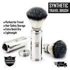 Men's Travel Shaving Brush With Synthetic Bristle  Stainless Steel Handle