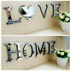 4 Letters Love Home Furniture Mirror Tiles Wall Sticker Self-adhesive Art Decor-
