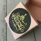 Gold Foil Round Black Christmas Gift Stickers Christmas Party Stickers Labels