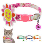 Nylon Safety Cat Collar Quick Release Buckle Floral Breakaway Collar with Bell