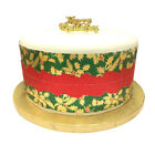 Christmas Cake Frill / Ribbon red with gold band/ Holy  Decoration 9x86.3cm